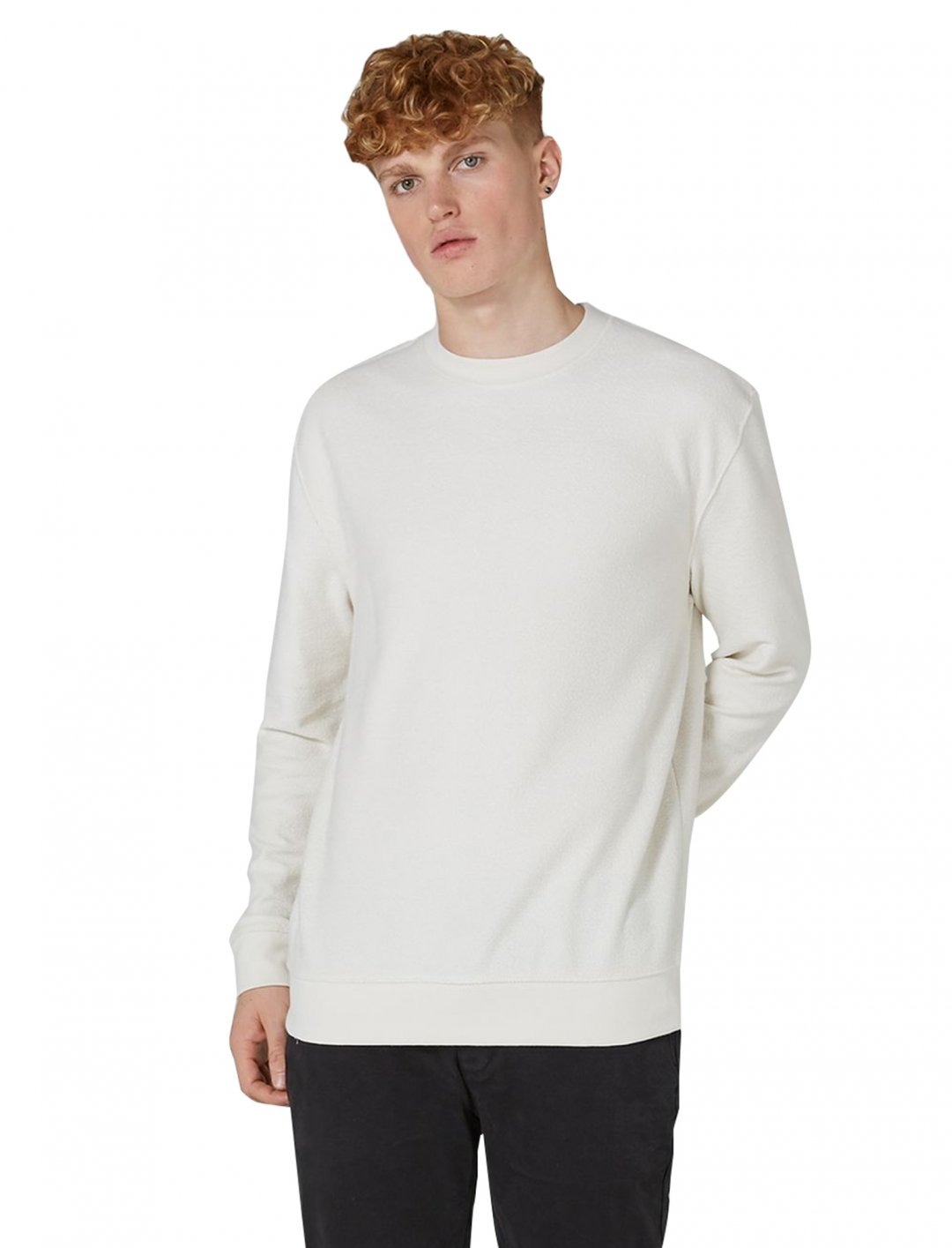 "Classic White Reverse Sweatshirt {""id"":5,""product_section_id"":1,""name"":""Clothing"",""order"":5} Topman"