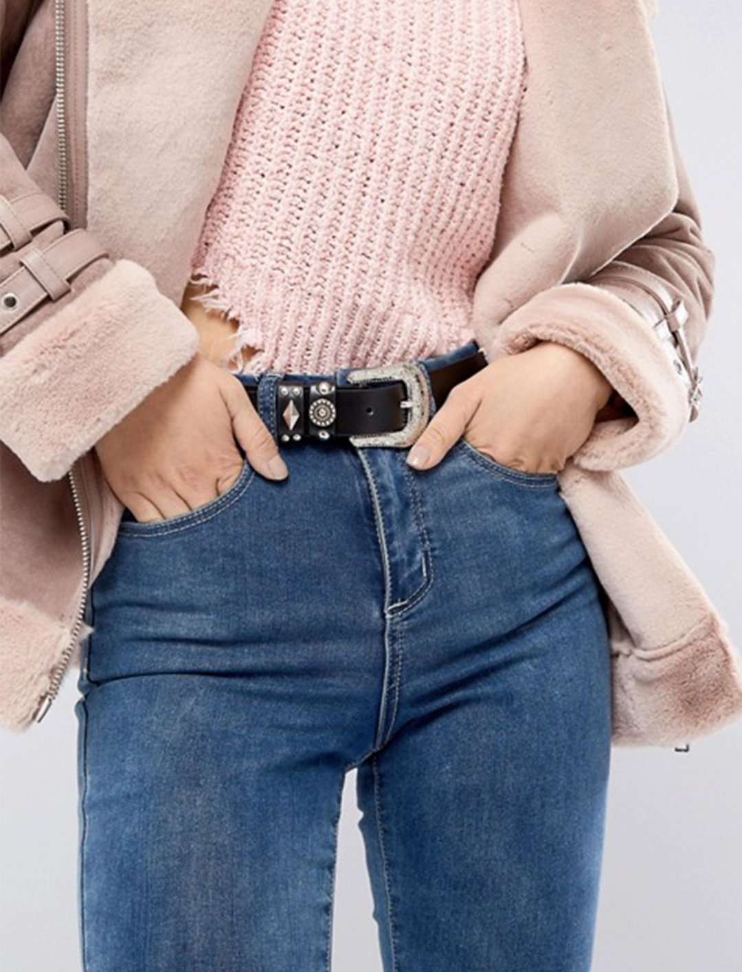 Stud Detail Jeans Belt Accessories Glamorous
