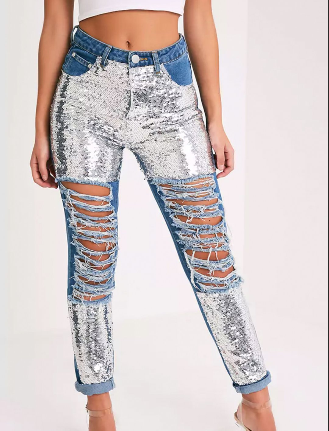 """Sequin Distress Mom Jeans {""""id"""":5,""""product_section_id"""":1,""""name"""":""""Clothing"""",""""order"""":5} Pretty Little Thing"""