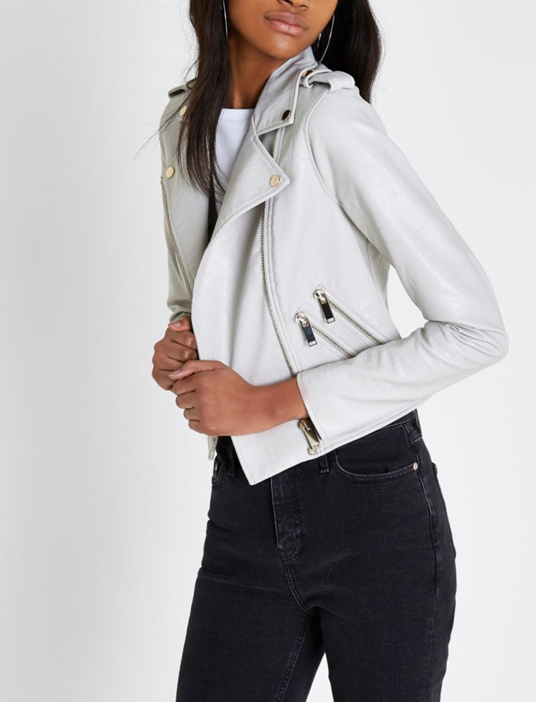 """Faux Leather Biker Jacket {""""id"""":5,""""product_section_id"""":1,""""name"""":""""Clothing"""",""""order"""":5} River Island"""