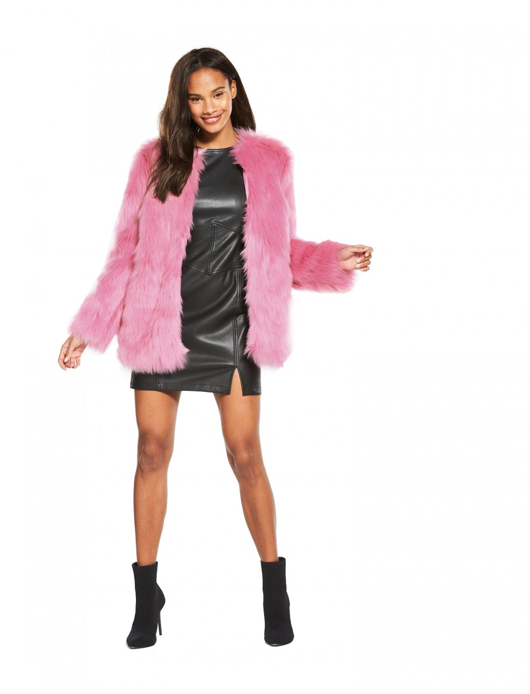 "Pink Faux Fur Coat {""id"":5,""product_section_id"":1,""name"":""Clothing"",""order"":5} Miss Selfridge"