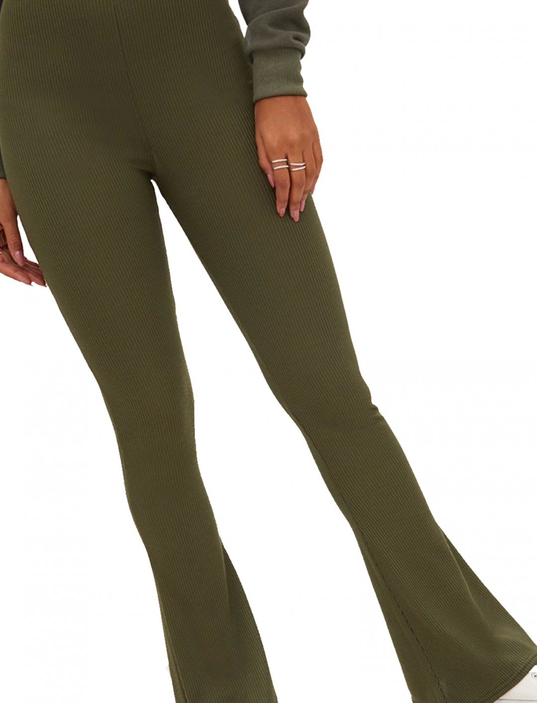 "Montana's Ribbed Flared Trousers {""id"":5,""product_section_id"":1,""name"":""Clothing"",""order"":5} Pretty Little Thing"