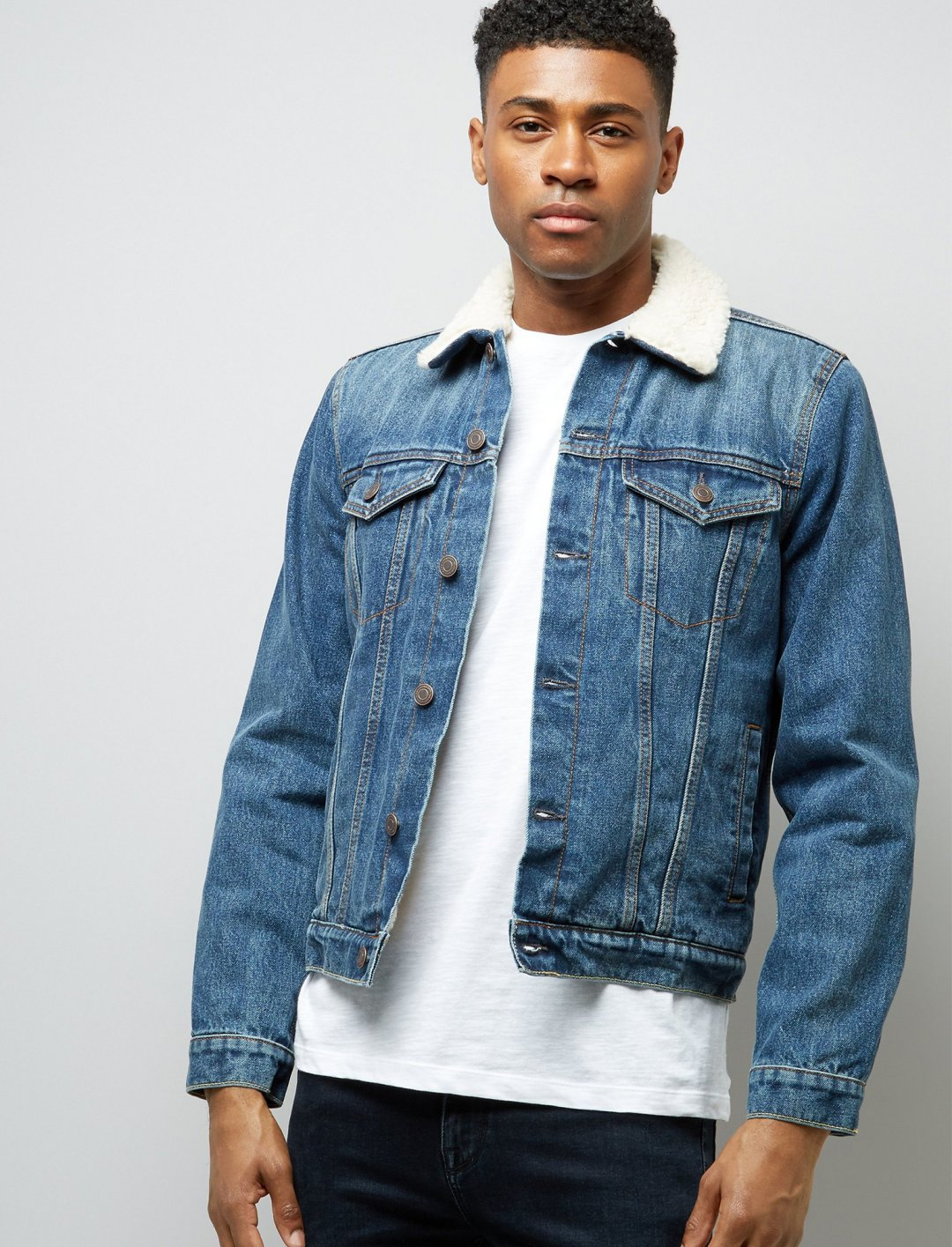 "Borg Lined Denim Jacket {""id"":5,""product_section_id"":1,""name"":""Clothing"",""order"":5} New Look"