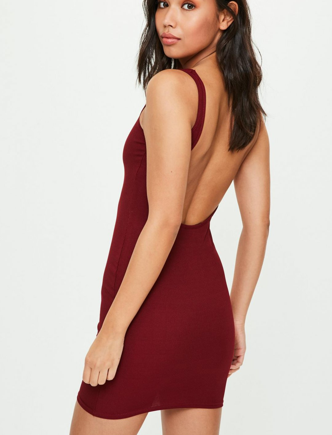 "Burgundy Ribbed Dress {""id"":5,""product_section_id"":1,""name"":""Clothing"",""order"":5} Missguided"