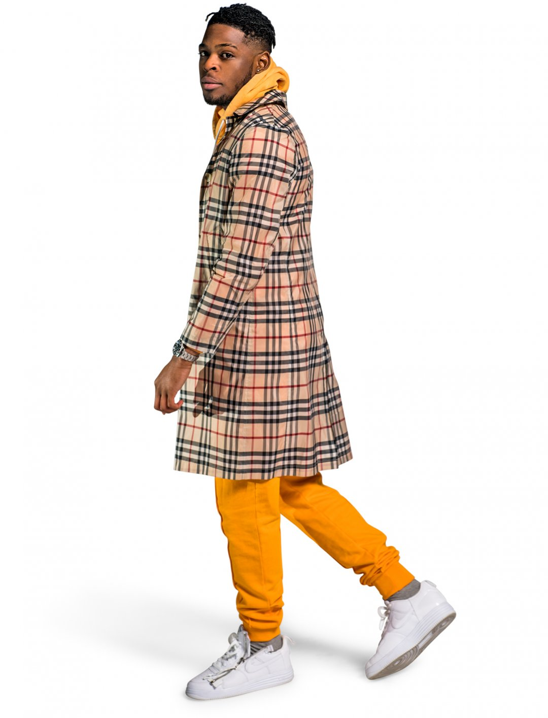 Yxng Bane's Checked Wool Coat Clothing Burberry