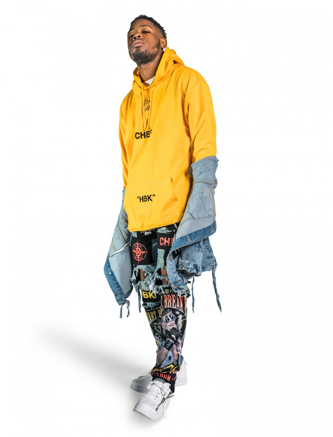 "Yxng Bane's Strobe Yellow Hoodie {""id"":5,""product_section_id"":1,""name"":""Clothing"",""order"":5} DXPECHEF"
