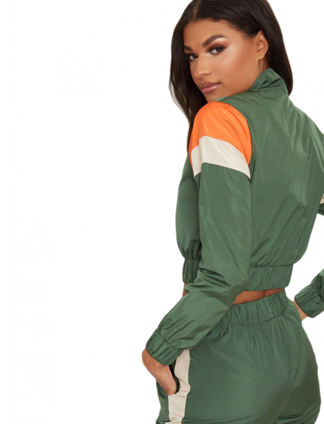 "Khaki Tracksuit Top {""id"":5,""product_section_id"":1,""name"":""Clothing"",""order"":5} Pretty Little Thing"
