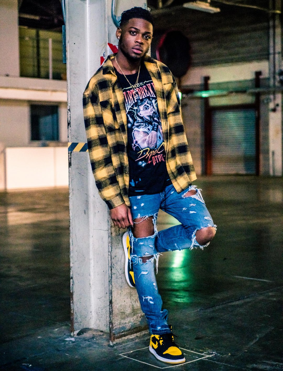 "Yxng Bane's Strobe Plaid Shirt {""id"":5,""product_section_id"":1,""name"":""Clothing"",""order"":5} Dxpe Chef"