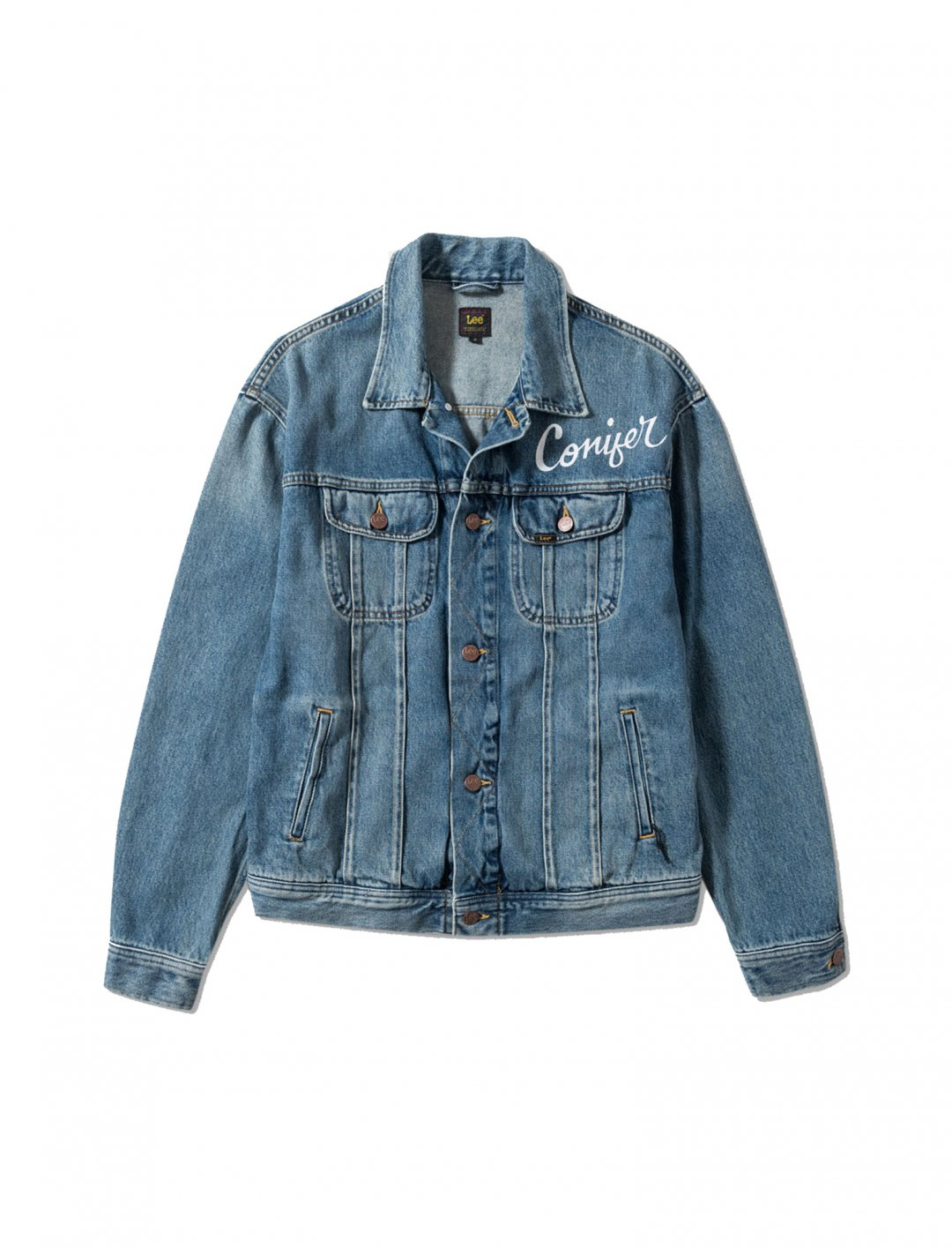 "Lee X Conifer Denim Jacket {""id"":5,""product_section_id"":1,""name"":""Clothing"",""order"":5} Lee X Conifer"