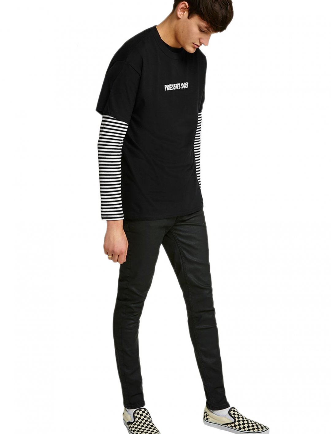 "Black 'Present Day' T-Shirt {""id"":5,""product_section_id"":1,""name"":""Clothing"",""order"":5} Topman"