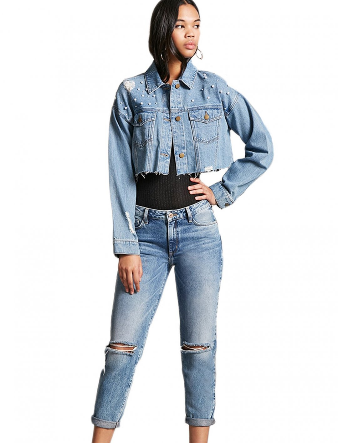 Distressed Cropped Denim Jacket Clothing Forever21