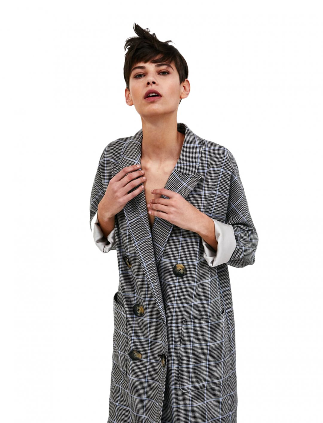"Zara Checked Coat {""id"":5,""product_section_id"":1,""name"":""Clothing"",""order"":5} Zara"