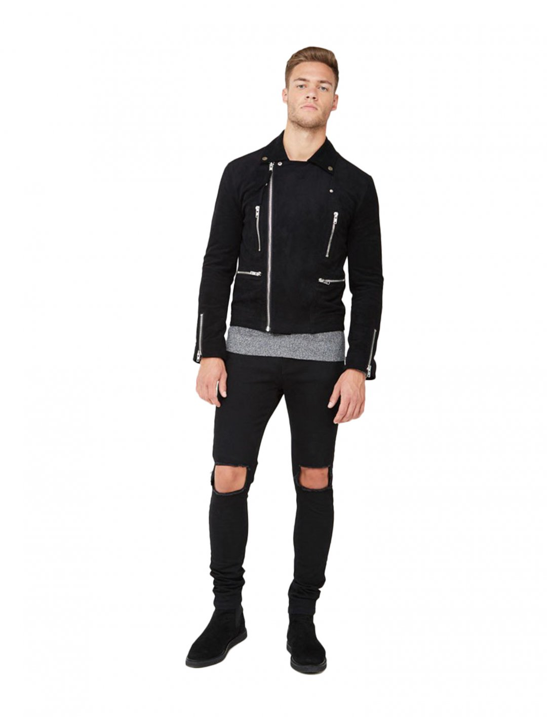 "Maleek's Suede Biker Jacket {""id"":5,""product_section_id"":1,""name"":""Clothing"",""order"":5} Maniere De Voir"