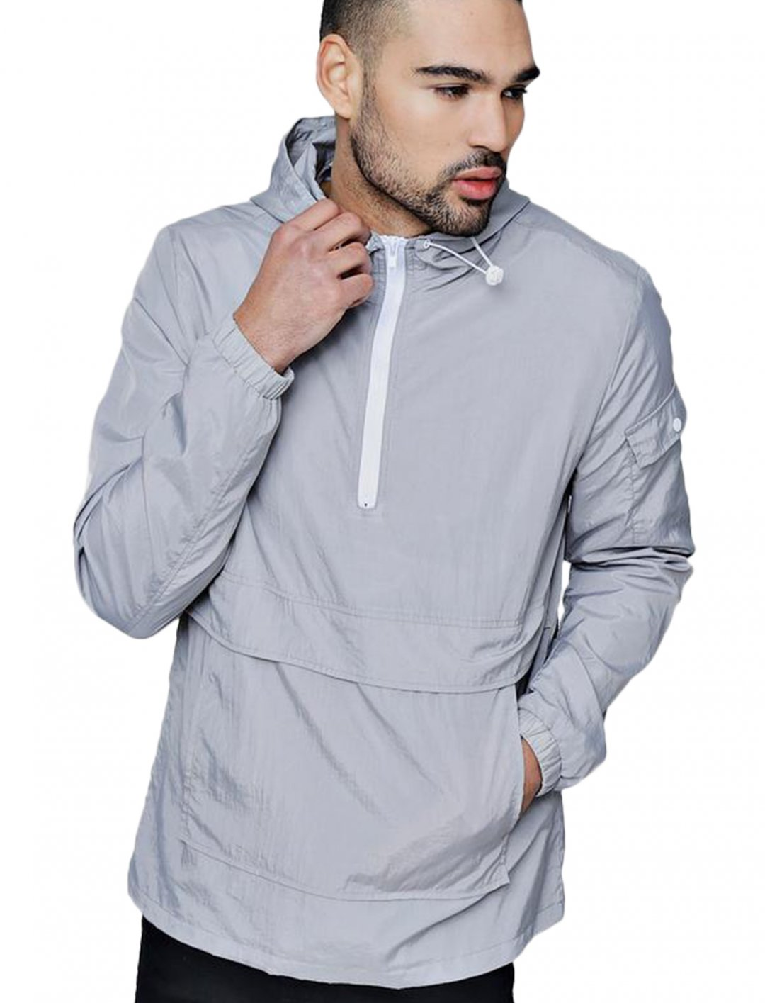 "Boohoo Man Hooded Windbreaker {""id"":5,""product_section_id"":1,""name"":""Clothing"",""order"":5} BoohooMan"