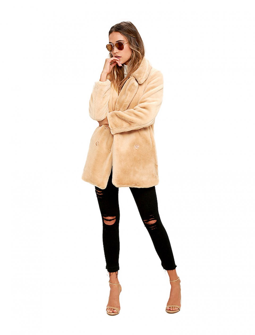 "Lulus Faux Fur Coat {""id"":5,""product_section_id"":1,""name"":""Clothing"",""order"":5} Lulus"