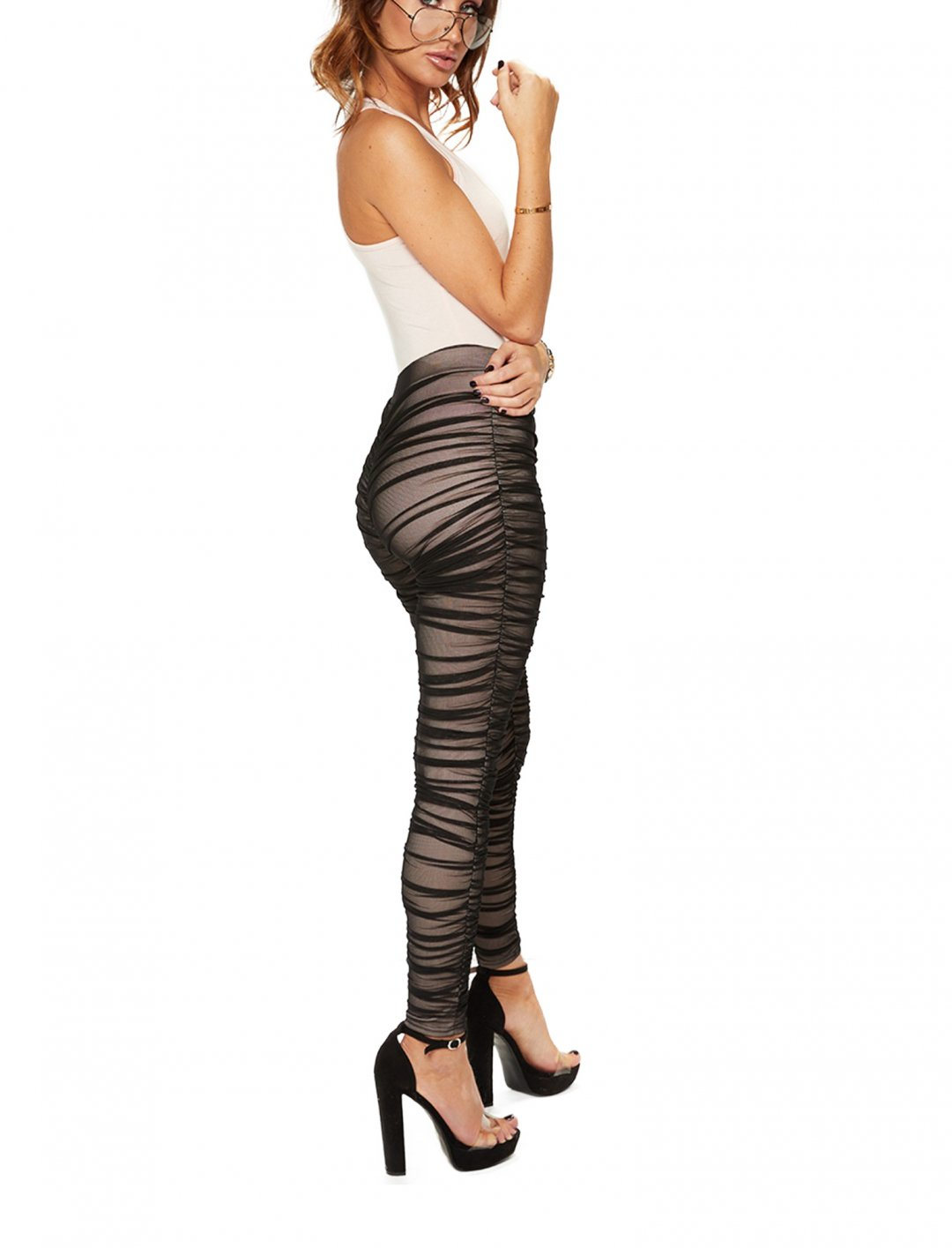 """Misspap Mesh Ruched Leggings {""""id"""":5,""""product_section_id"""":1,""""name"""":""""Clothing"""",""""order"""":5} Misspap"""
