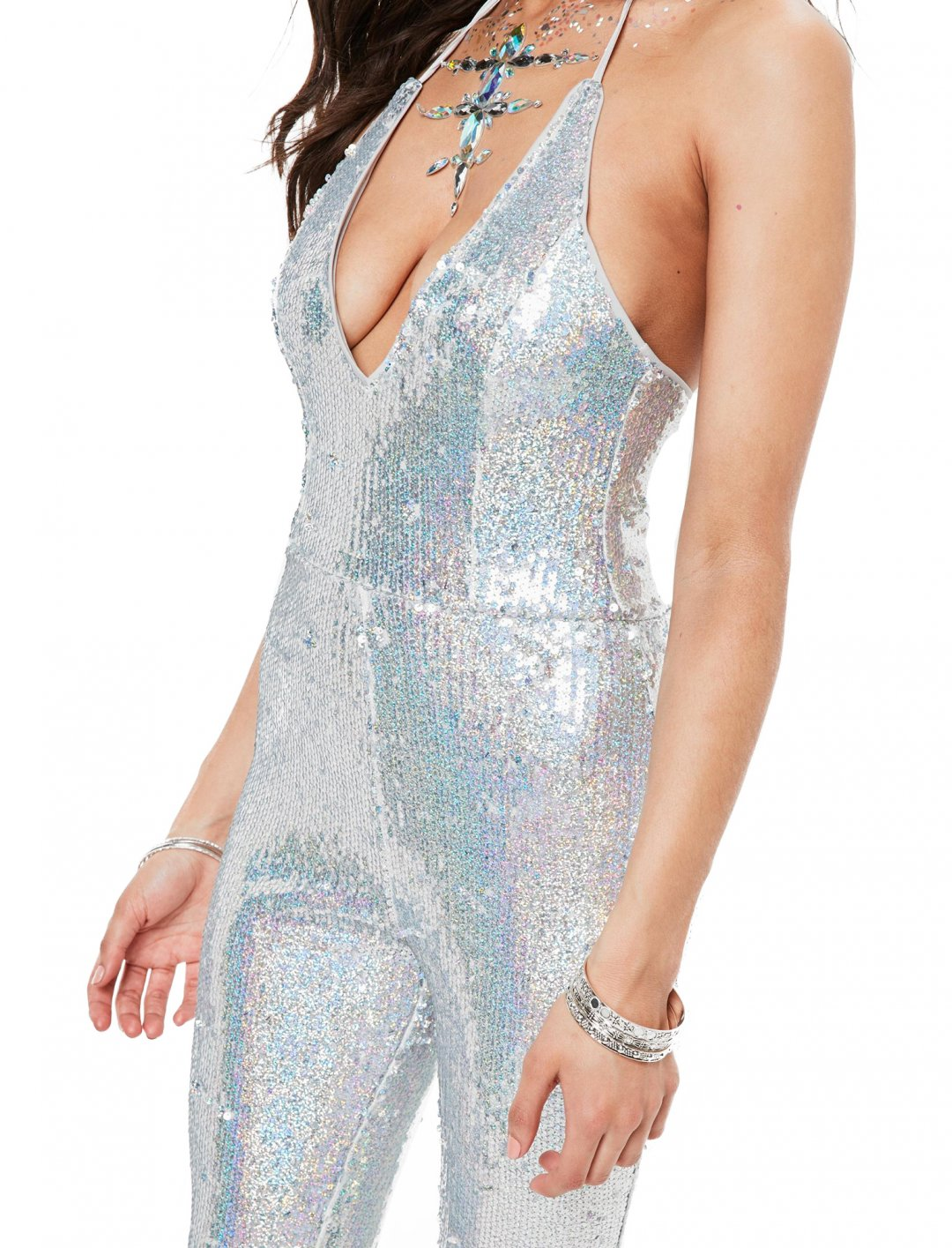 Missguided Silver Sequin Jumpsuit Clothing Missguided