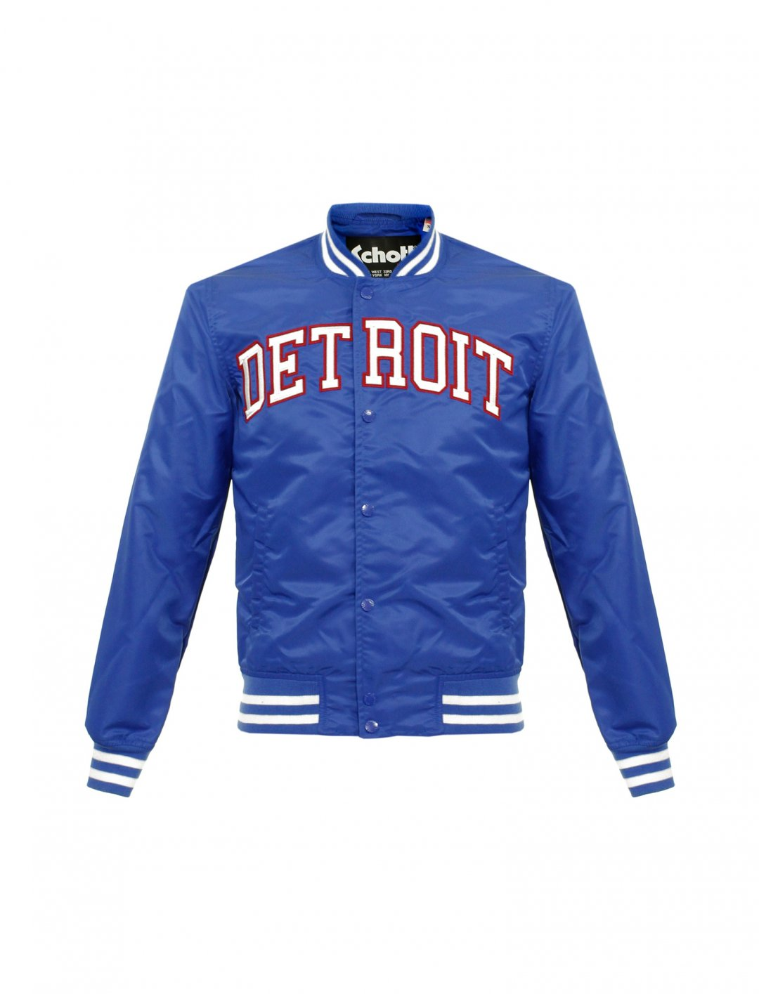 "Schott NYC Blue Bomber Jacket {""id"":5,""product_section_id"":1,""name"":""Clothing"",""order"":5} Schott NYC"