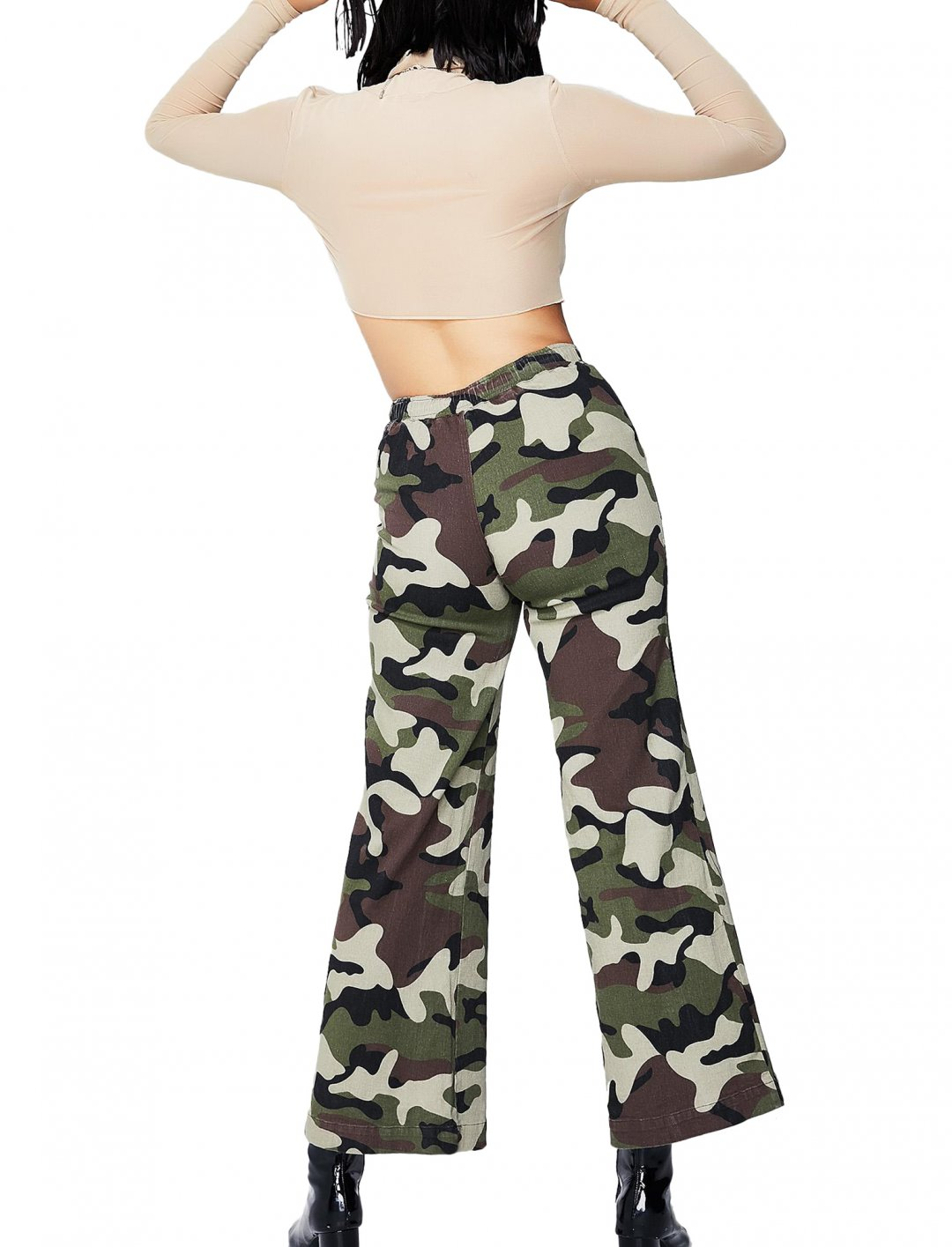 """Dolls Kill Camo Wide Leg Trousers {""""id"""":5,""""product_section_id"""":1,""""name"""":""""Clothing"""",""""order"""":5} Dolls Kill"""