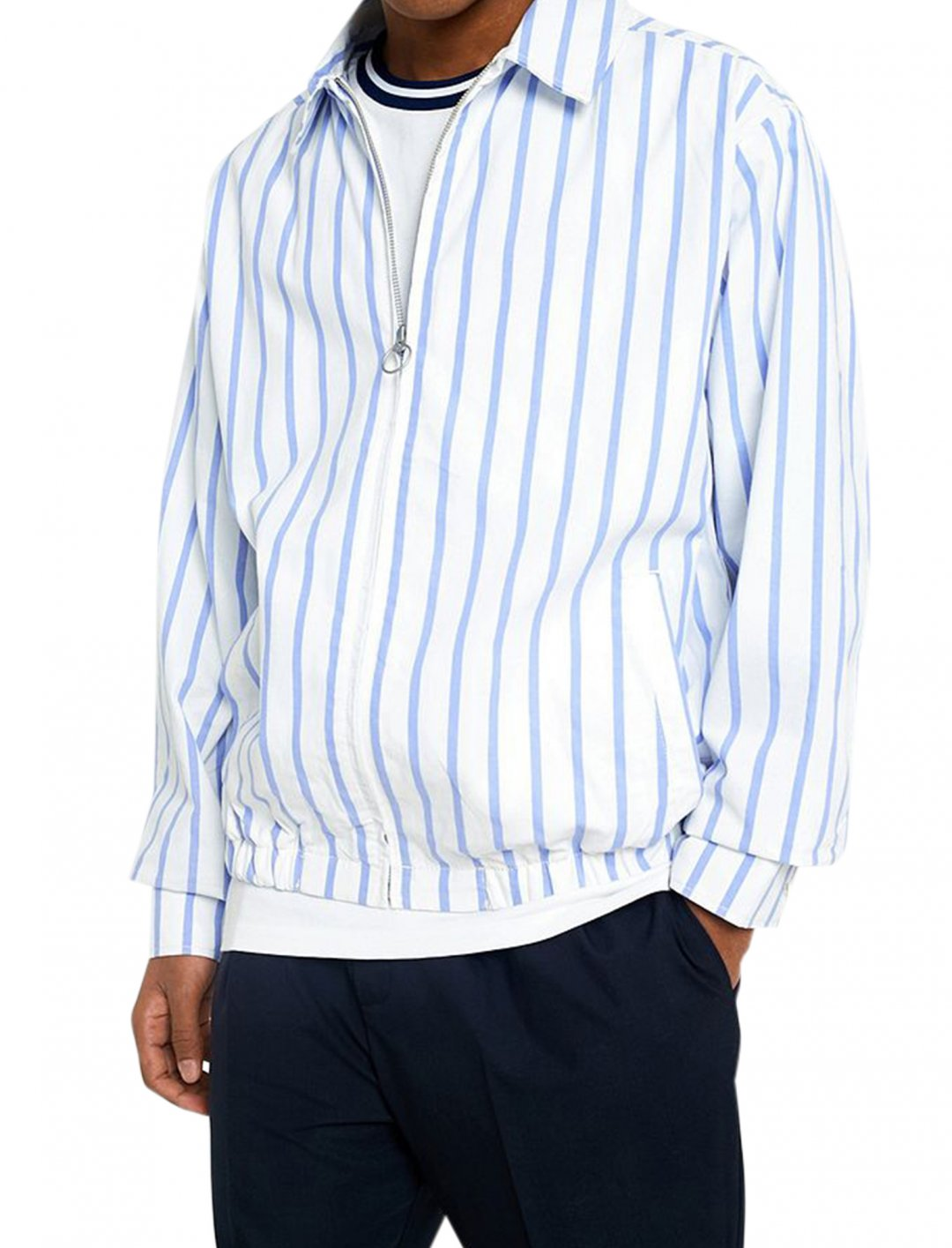 """UO Cotton Stripe Harrington Jacket {""""id"""":5,""""product_section_id"""":1,""""name"""":""""Clothing"""",""""order"""":5} Urban Outfitters"""