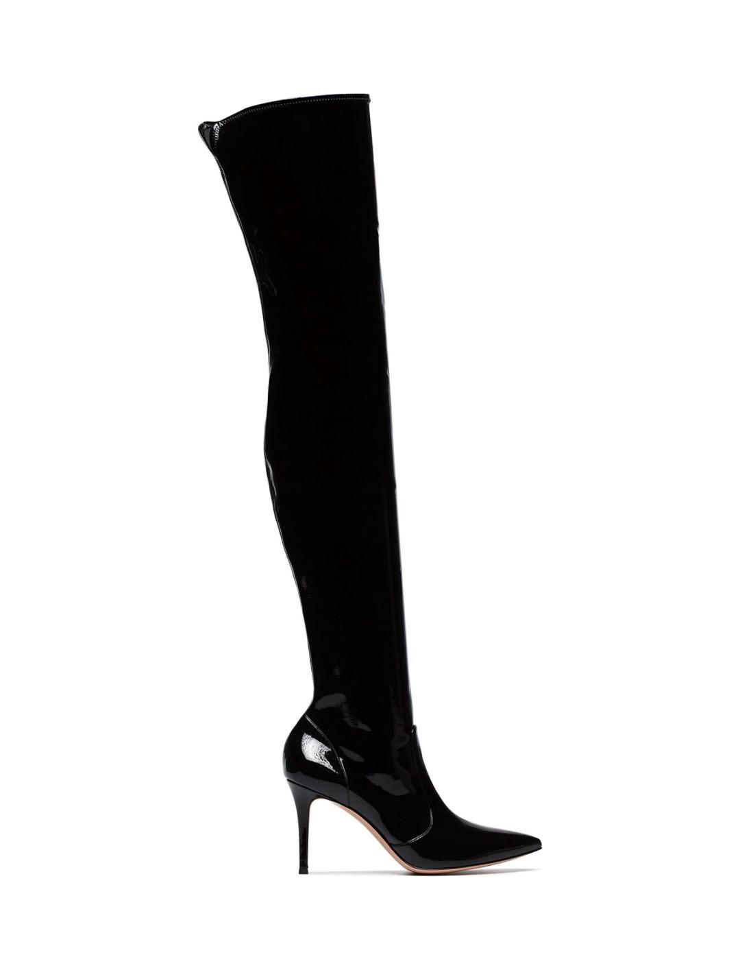 Black Vinyl Boots Shoes Gianvito Rossi