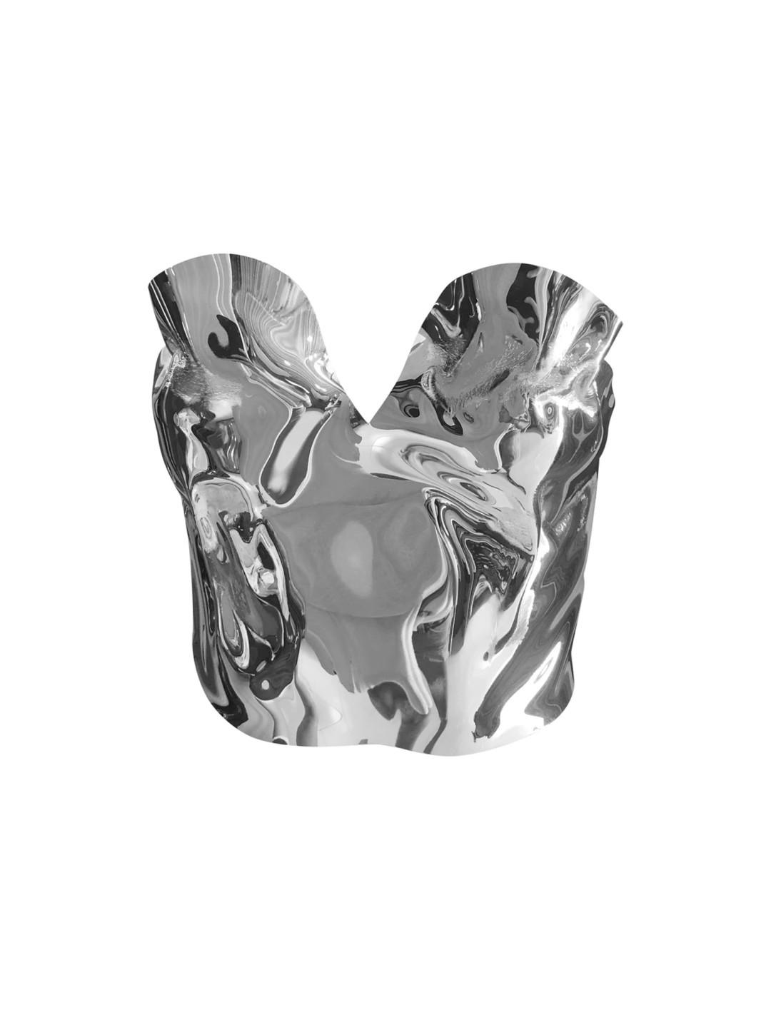 Silver Liquid Top Clothing Graham Cruz
