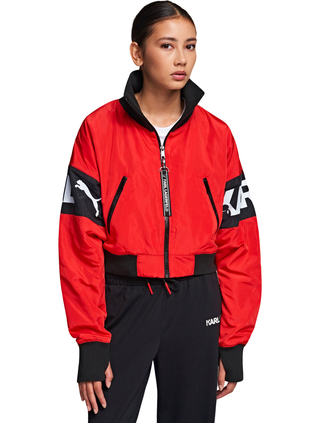 """Cropped Bomber {""""id"""":5,""""product_section_id"""":1,""""name"""":""""Clothing"""",""""order"""":5} Karl x Puma"""