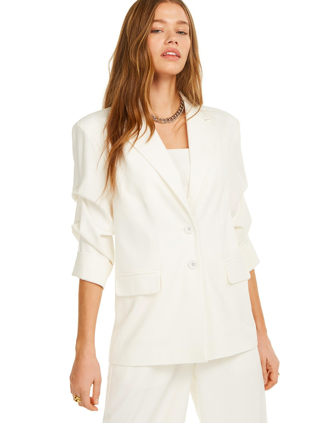 Ruched Sleeves Blazer