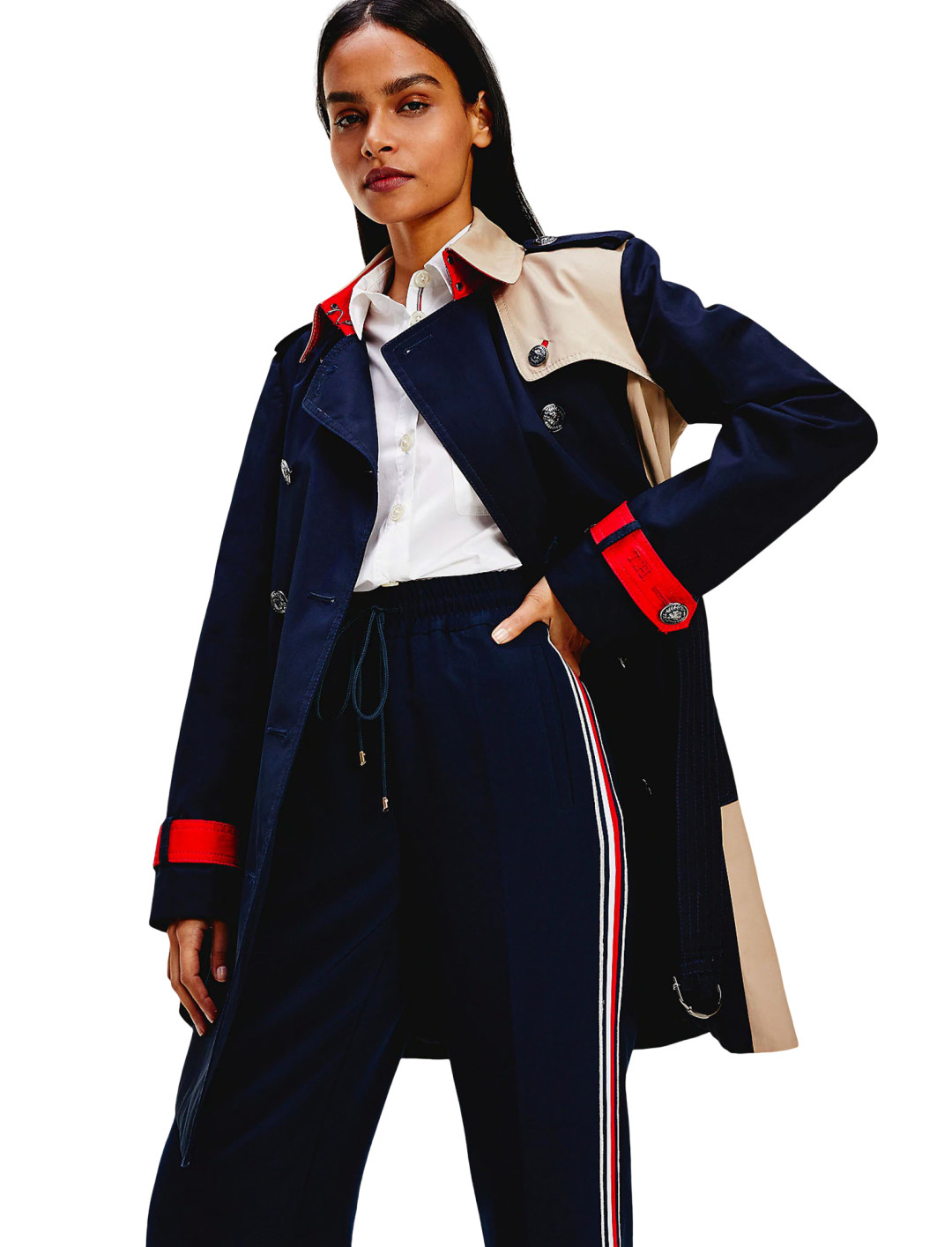 Colour-blocked Trench Coat