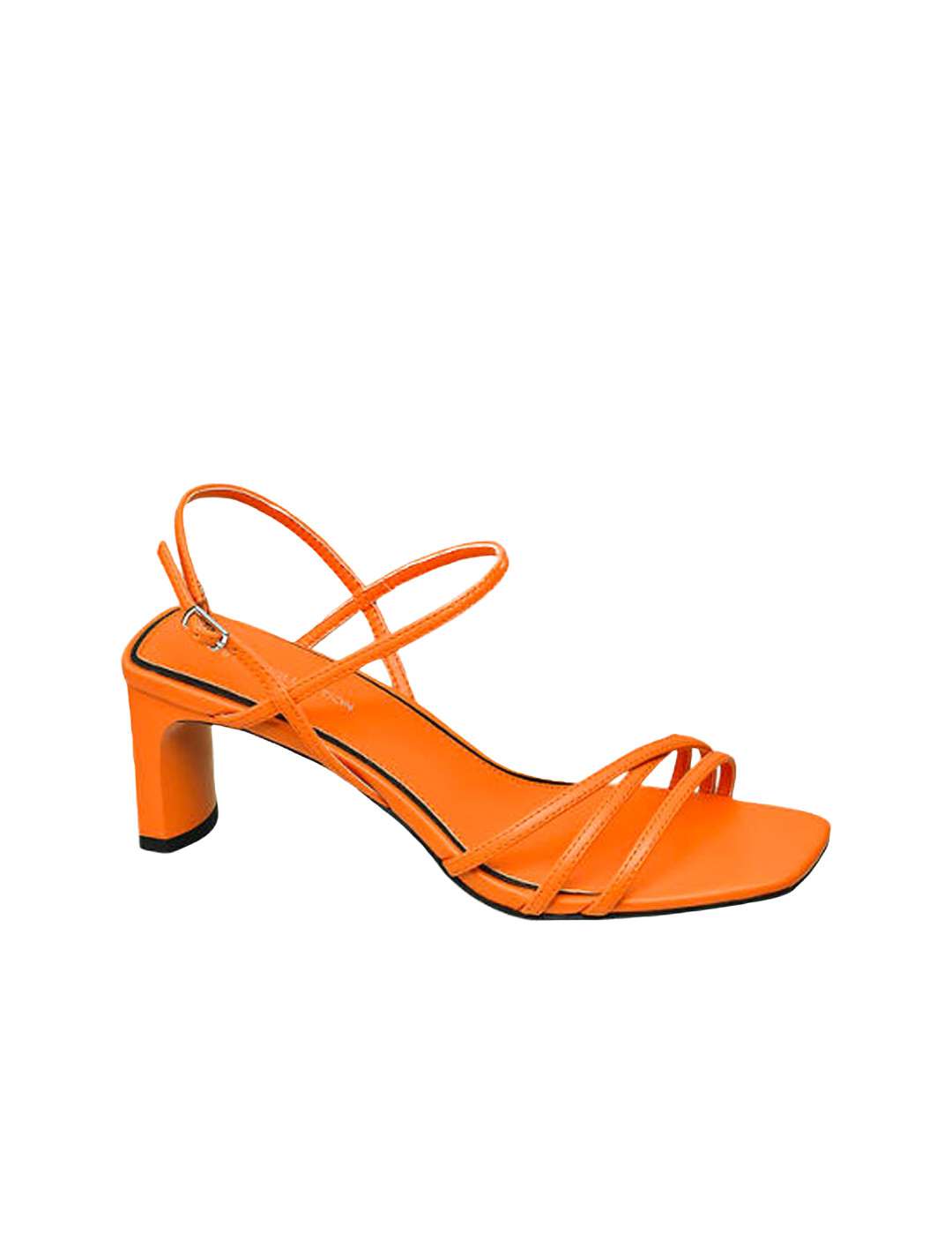 Orange Square Toe Sandals