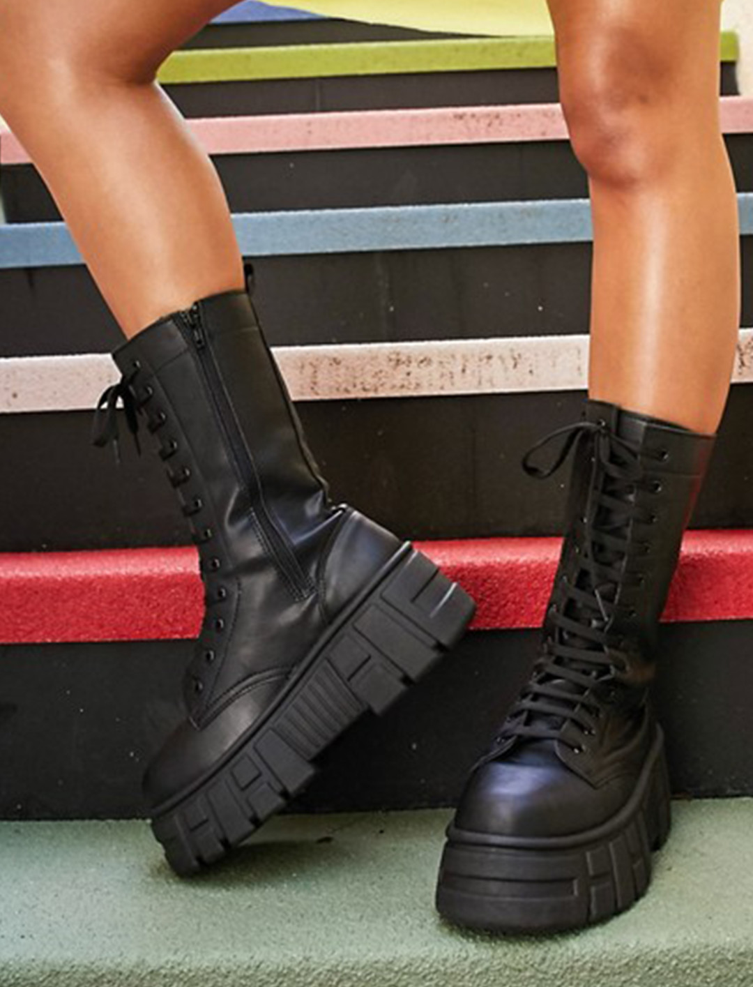 Chunky High Lace Up Boots