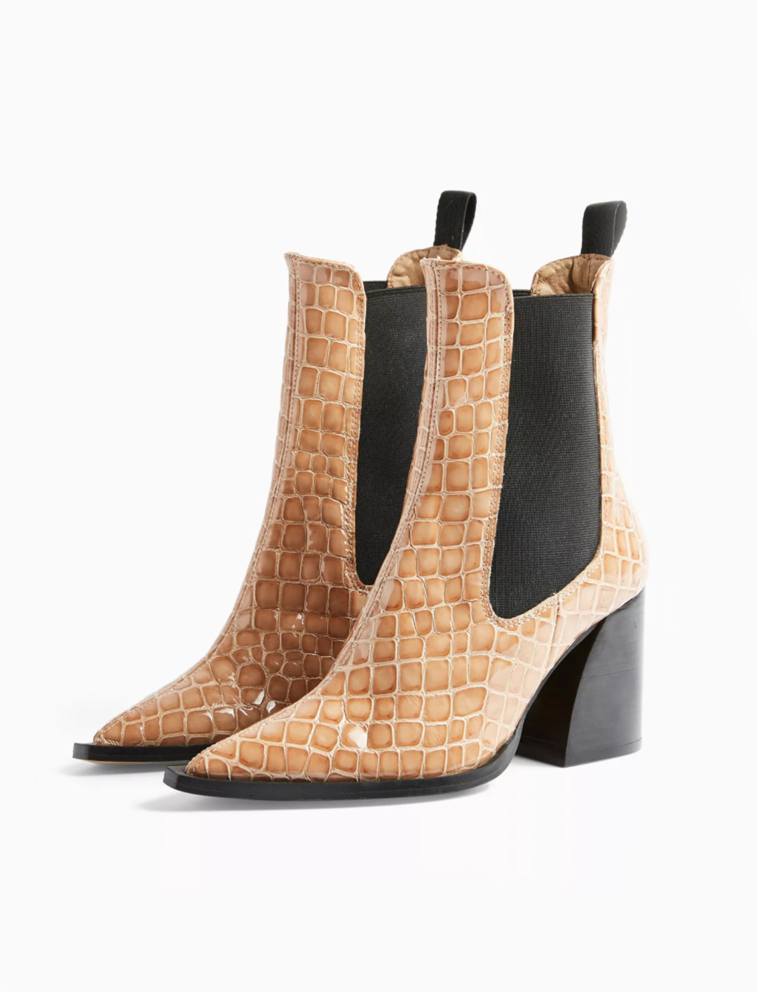 Leather Taupe Crocodile Chelsea Boots