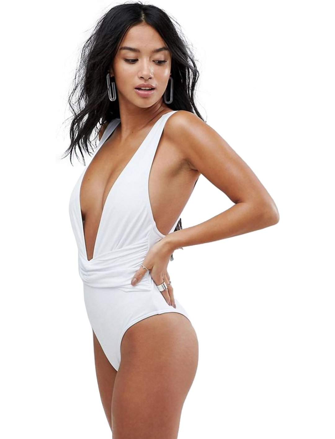 "Asos Plunge Ruched Front Swimsuit {""id"":5,""product_section_id"":1,""name"":""Clothing"",""order"":5} Asos"