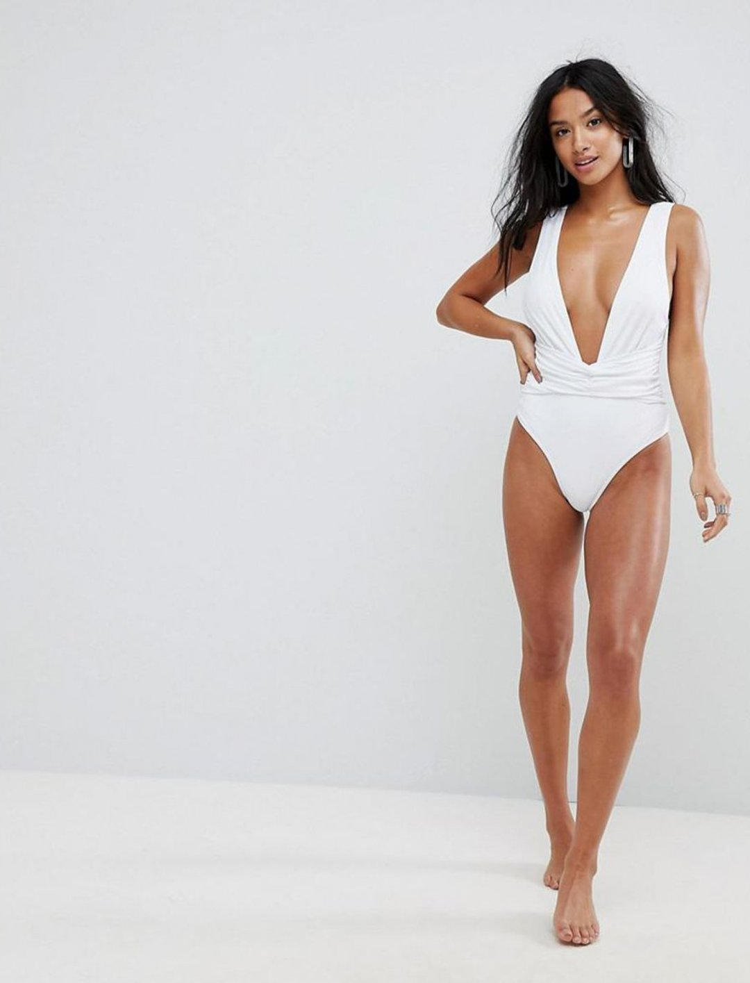 """Asos Plunge Ruched Front Swimsuit {""""id"""":5,""""product_section_id"""":1,""""name"""":""""Clothing"""",""""order"""":5} Asos"""
