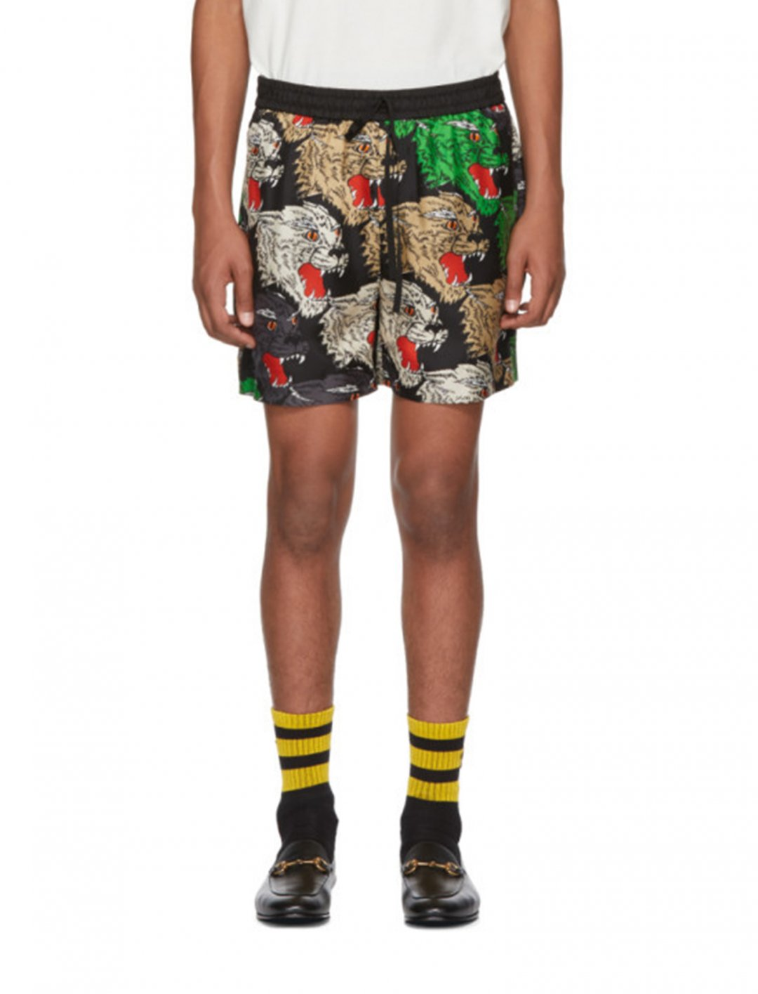 "Multicolor Silk Panther Face Shorts {""id"":5,""product_section_id"":1,""name"":""Clothing"",""order"":5} Gucci"