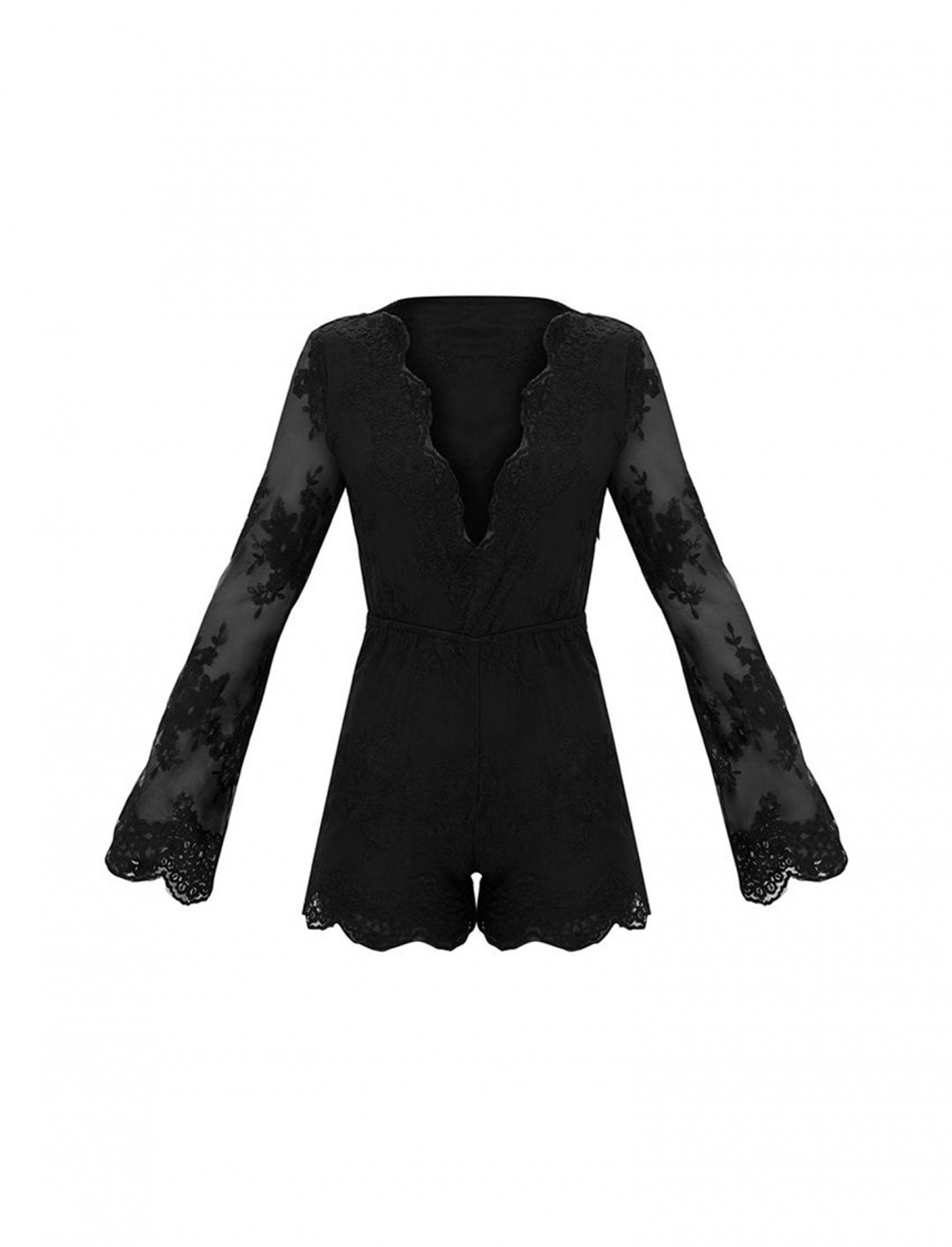 """Black Lace Bell Sleeve Playsuit {""""id"""":5,""""product_section_id"""":1,""""name"""":""""Clothing"""",""""order"""":5} Pretty Little Thing"""