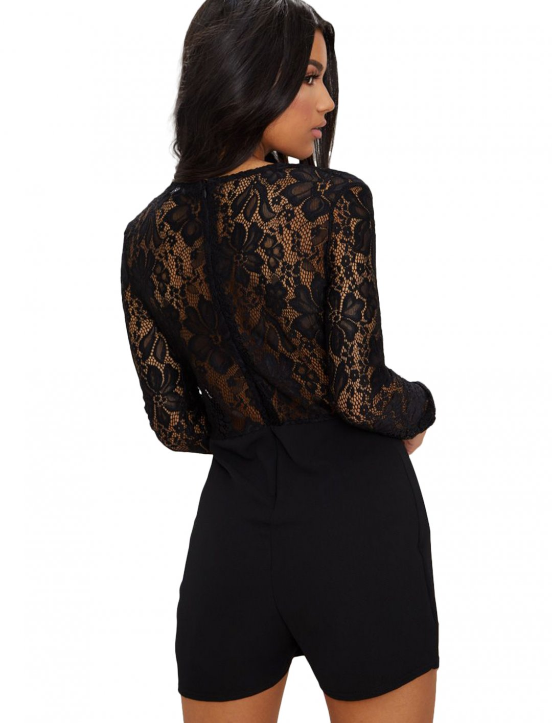 """Black Lace Long Sleeve Plunge Playsuit {""""id"""":5,""""product_section_id"""":1,""""name"""":""""Clothing"""",""""order"""":5} Pretty Little Thing"""
