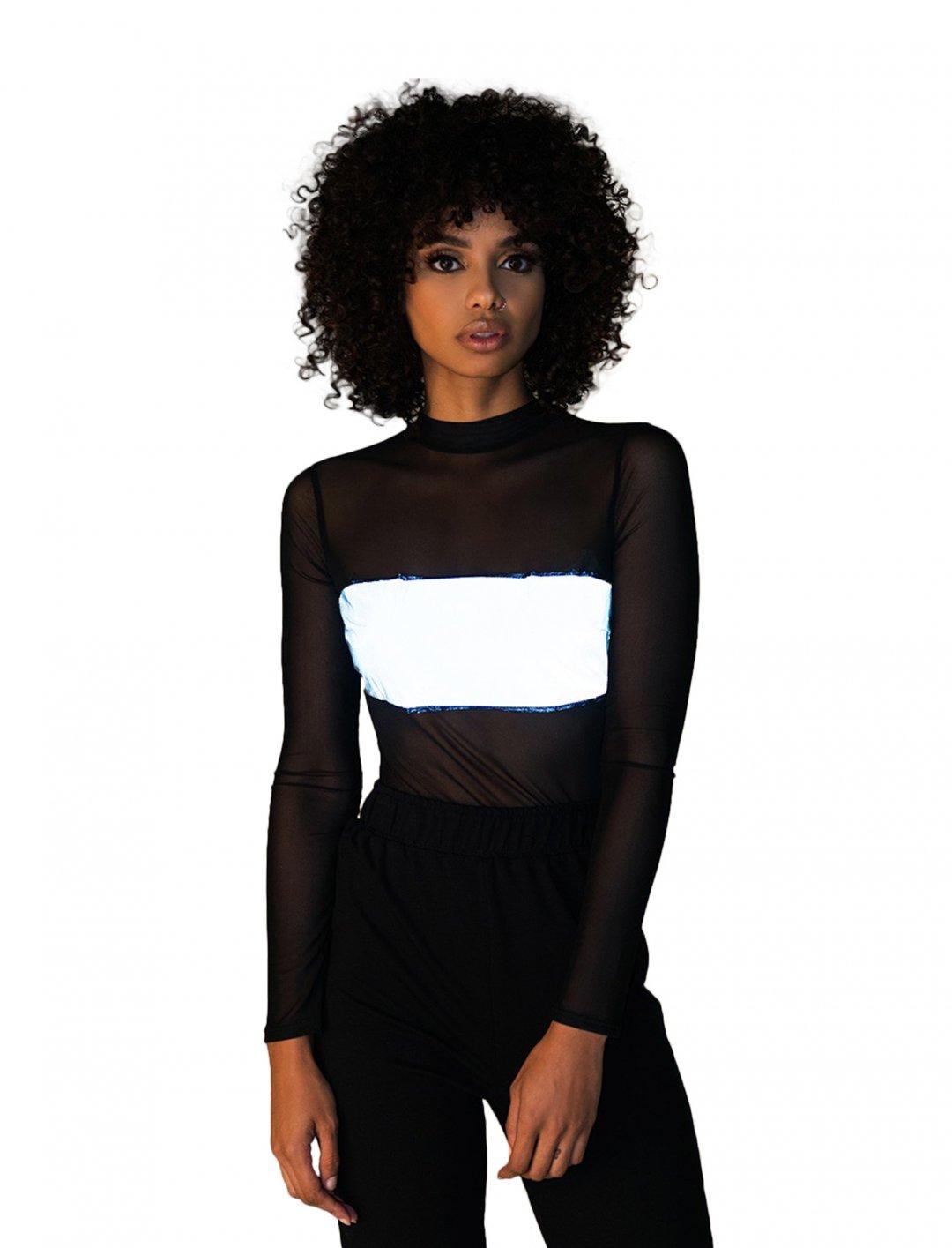 "Reflective Boob Bodysuit {""id"":5,""product_section_id"":1,""name"":""Clothing"",""order"":5} AKIRA"