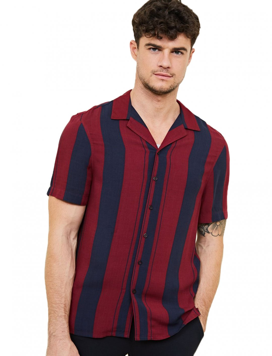 "Burgundy Stripe Shirt {""id"":5,""product_section_id"":1,""name"":""Clothing"",""order"":5} New Look"