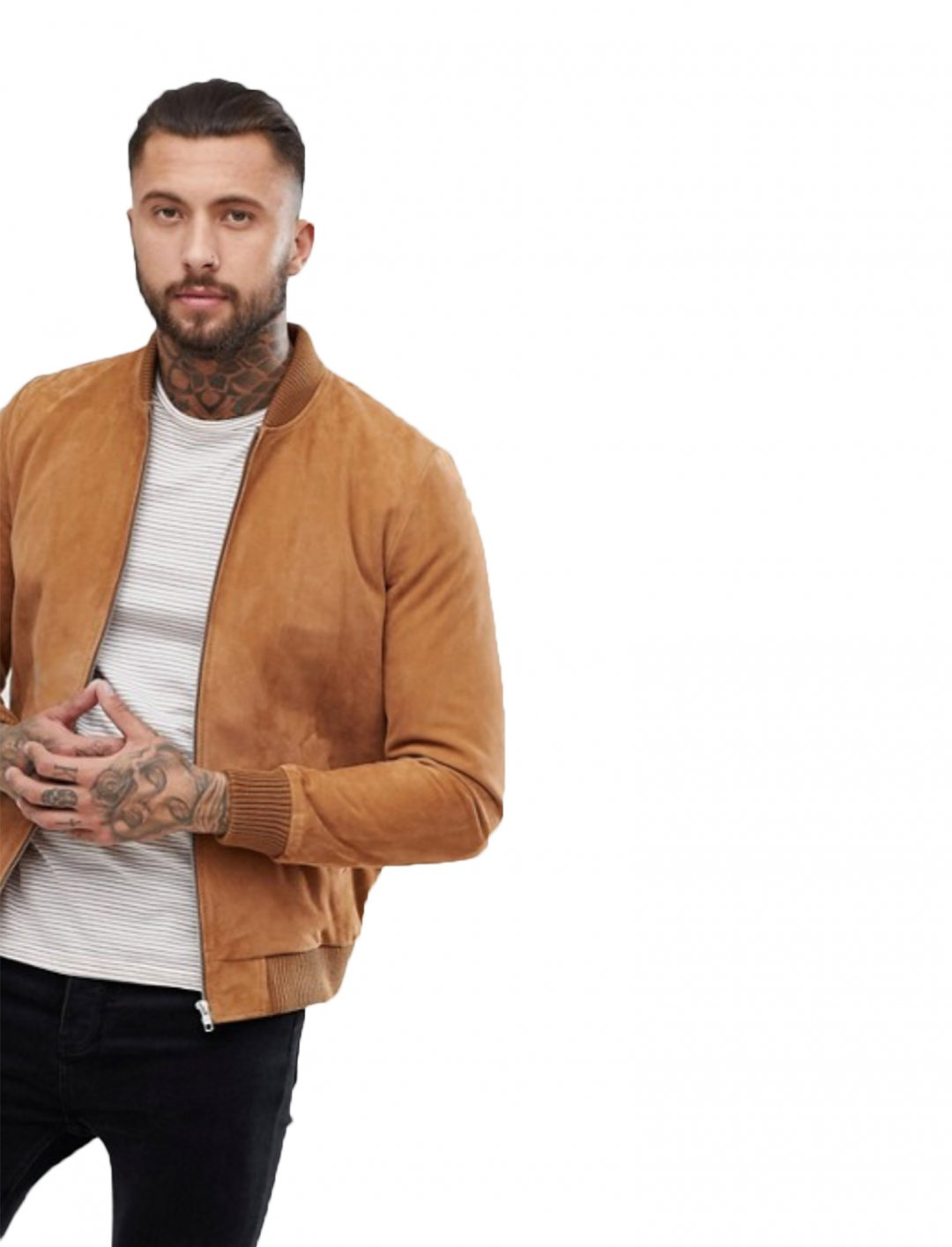 "Suede Bomber Jacket {""id"":5,""product_section_id"":1,""name"":""Clothing"",""order"":5} ASOS DESIGN"