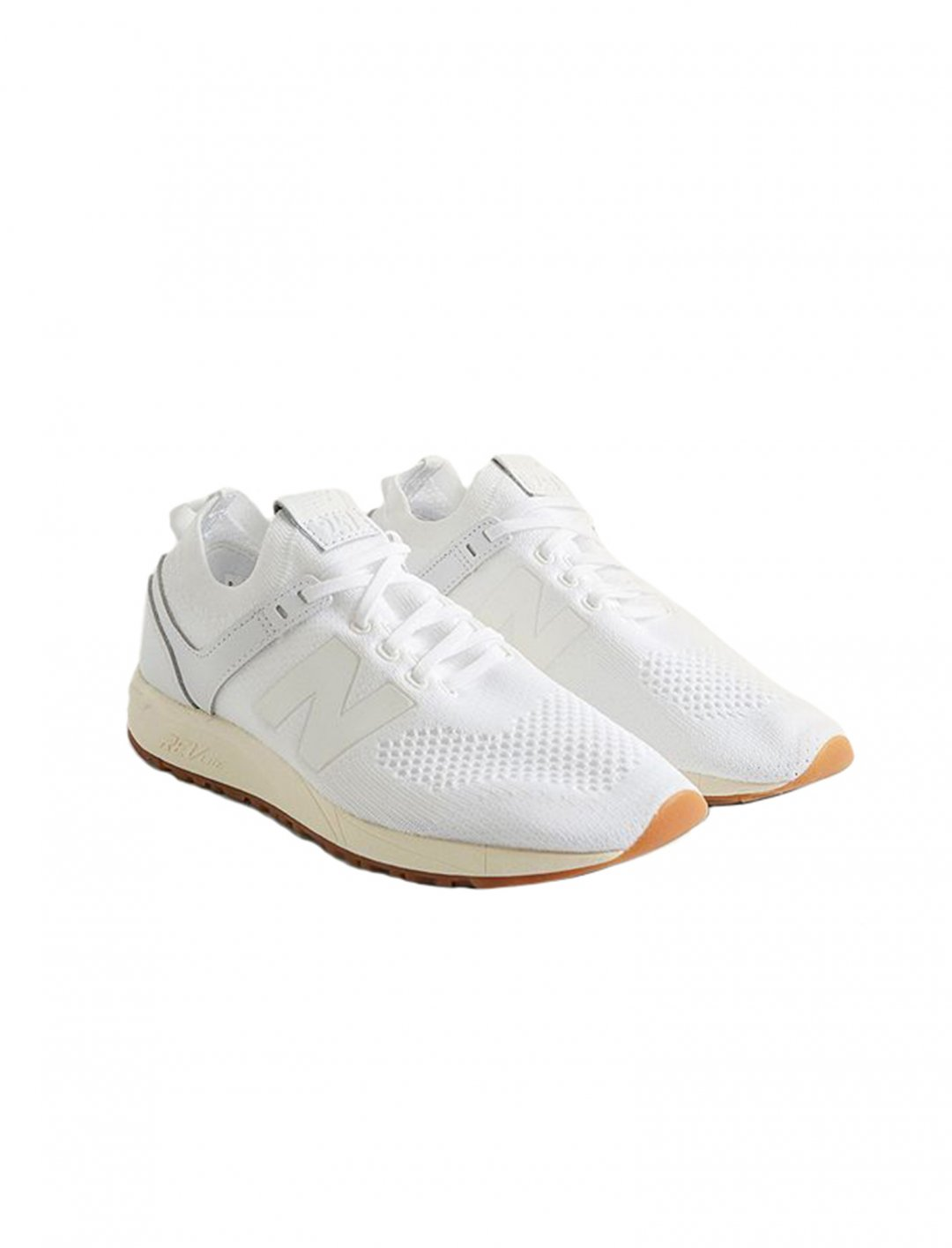 "White Knit Trainers {""id"":12,""product_section_id"":1,""name"":""Shoes"",""order"":12} New Balance"
