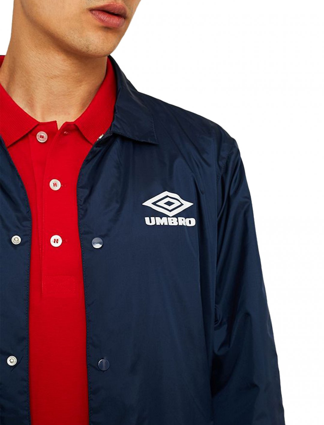 "Umbro Navy Coach Jacket {""id"":5,""product_section_id"":1,""name"":""Clothing"",""order"":5} Umbro"