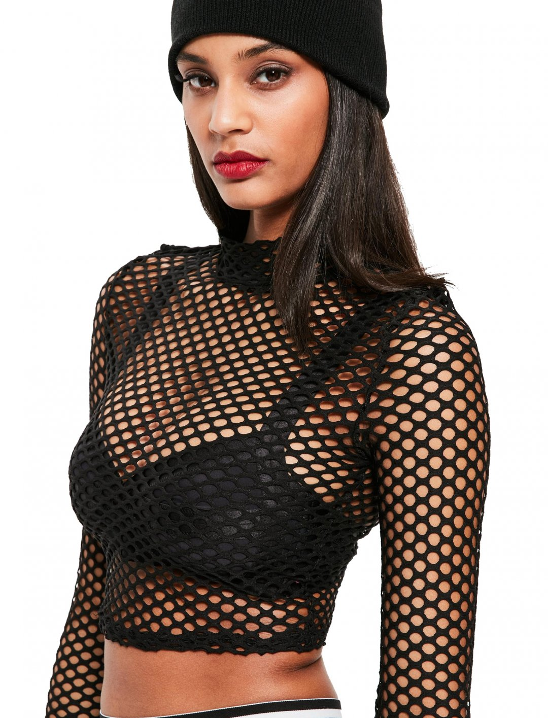 """Missguided Fishnet Crop Top {""""id"""":5,""""product_section_id"""":1,""""name"""":""""Clothing"""",""""order"""":5} Missguided"""
