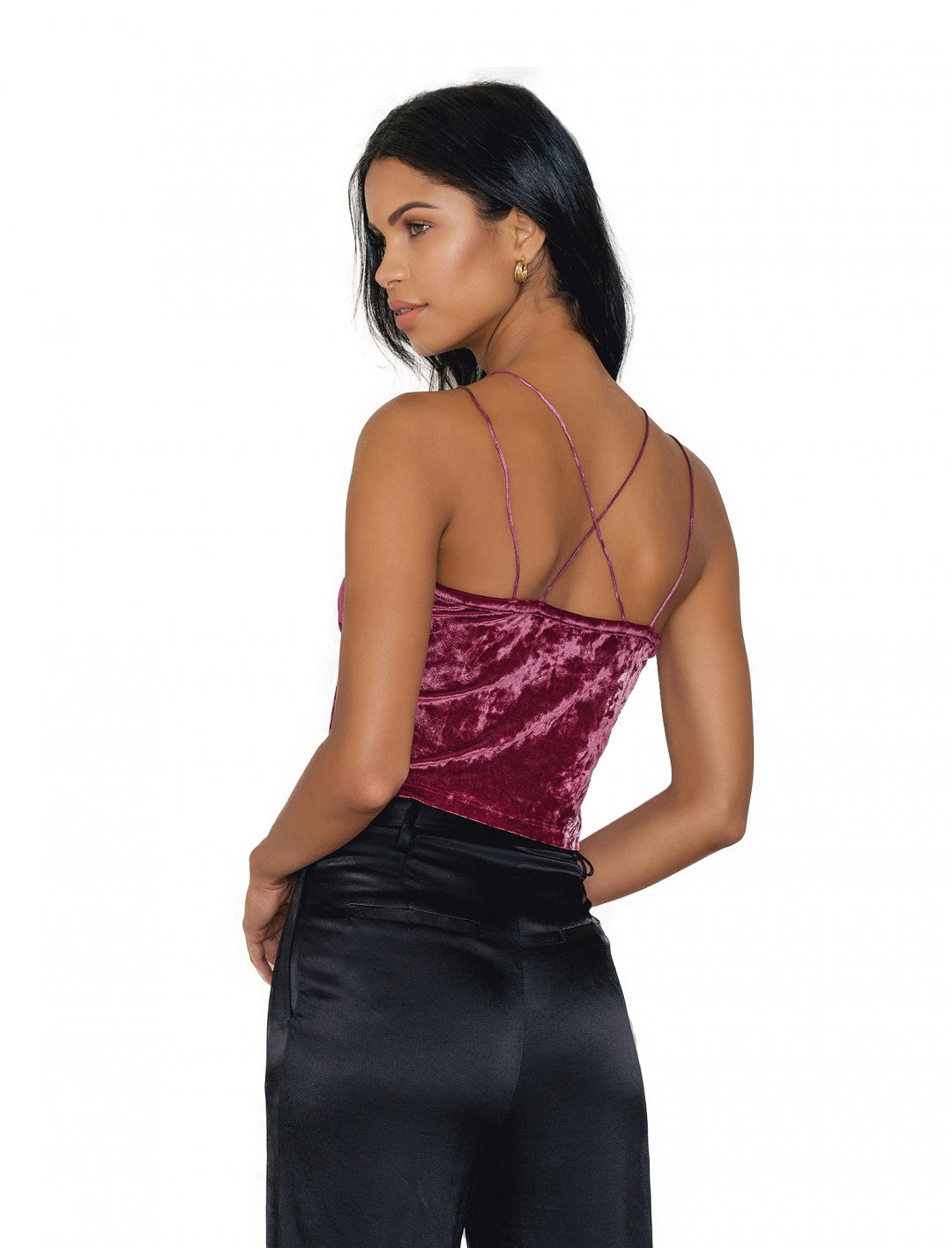 NA-KD Thin Strap Velvet Top Clothing Naked