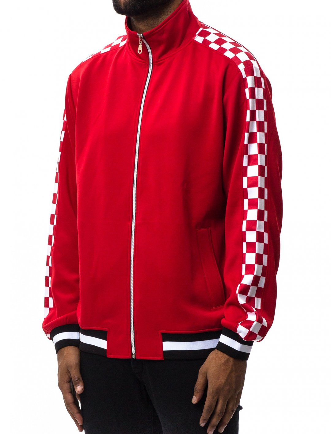 "Checkered Track Jacket {""id"":5,""product_section_id"":1,""name"":""Clothing"",""order"":5} Hudson Outwear"