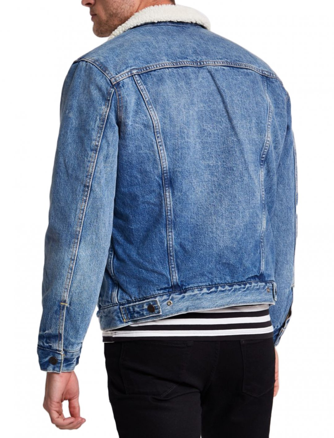 "Faux Shear Denim Jacket {""id"":5,""product_section_id"":1,""name"":""Clothing"",""order"":5} Levi's"