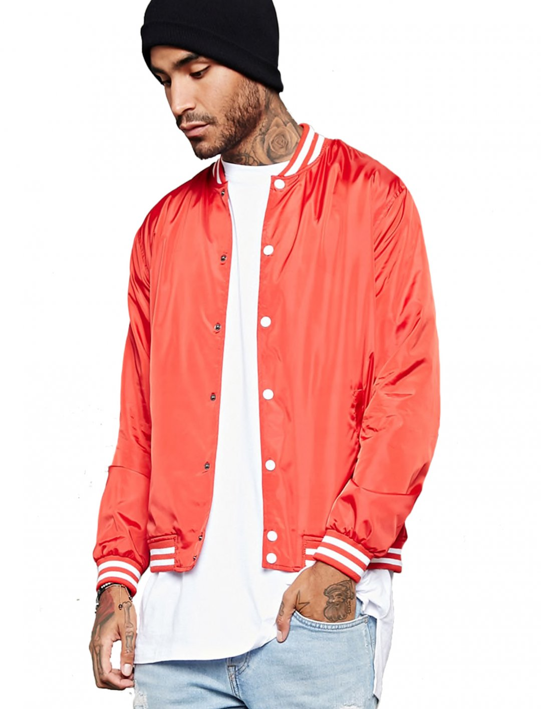 "Forever21 Varsity-Stripe Baseball Jacket {""id"":5,""product_section_id"":1,""name"":""Clothing"",""order"":5} Forever21"