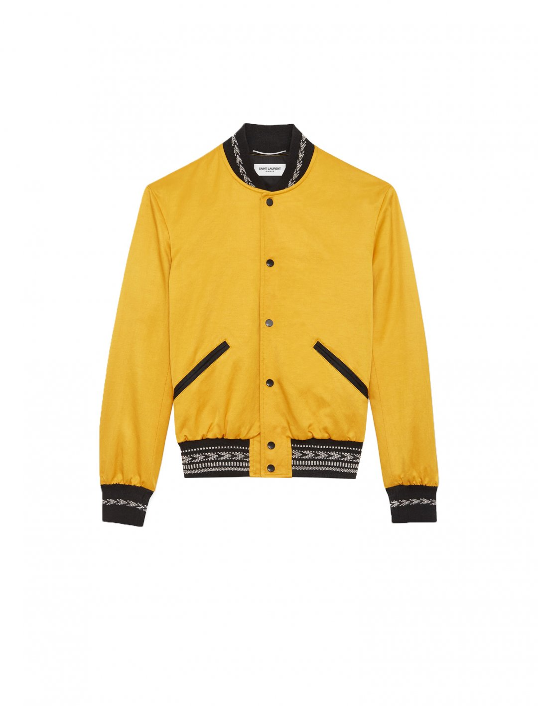"Yellow Ikat Teddy Bomber Jacket {""id"":5,""product_section_id"":1,""name"":""Clothing"",""order"":5} Saint Laurent"