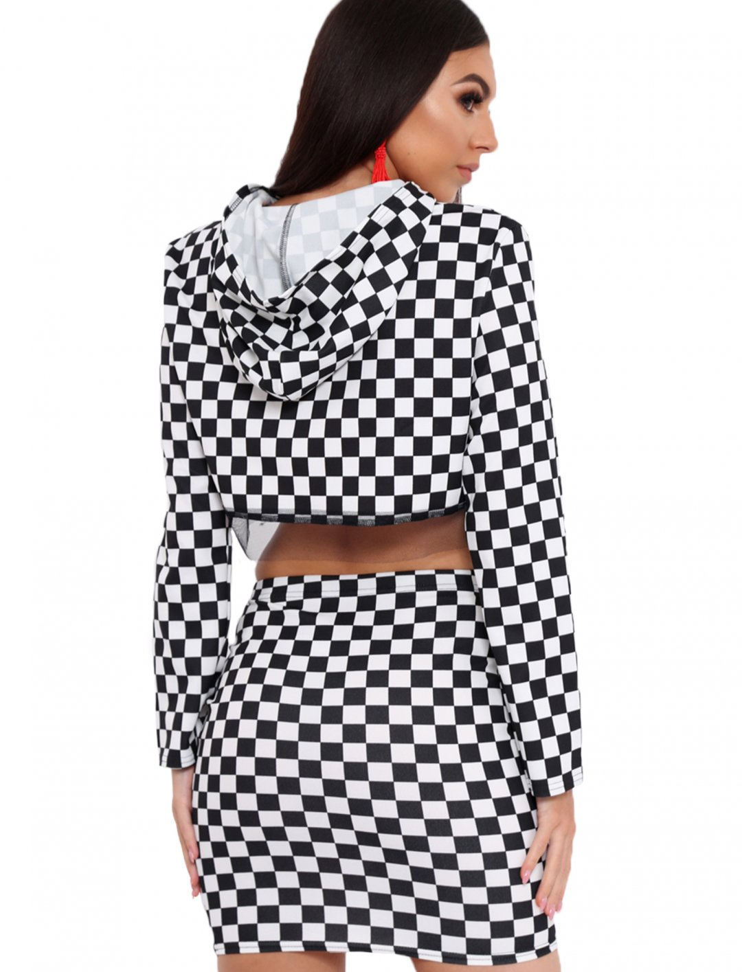 "Checker Board Hooded Top {""id"":5,""product_section_id"":1,""name"":""Clothing"",""order"":5} Rebellious Fashion"