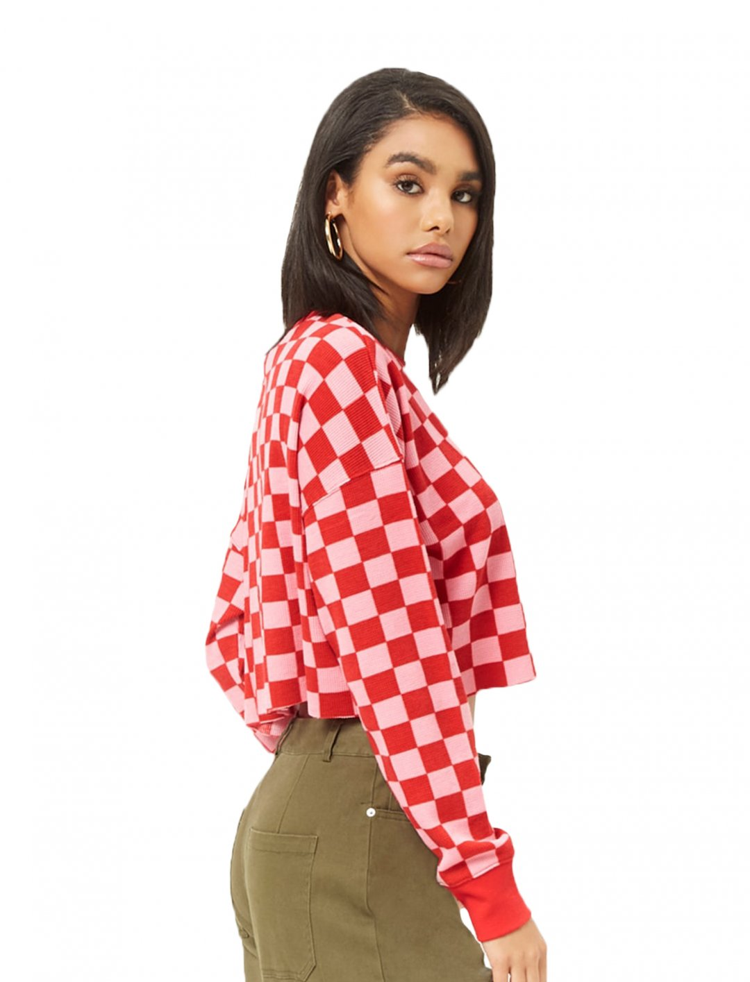 "Checkered Waffle-Knit Top {""id"":5,""product_section_id"":1,""name"":""Clothing"",""order"":5} Forever 21"